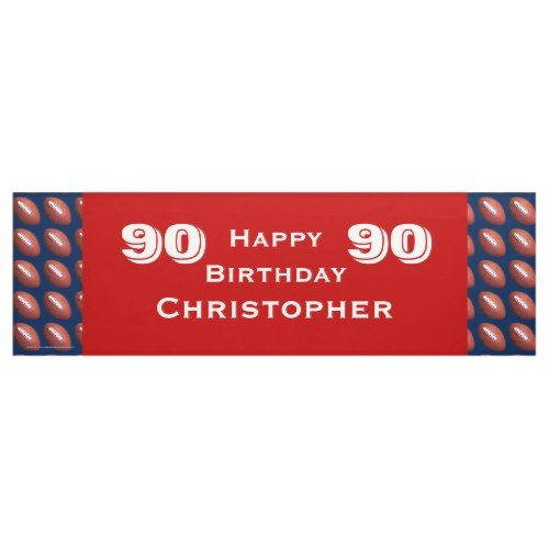 90th Birthday Party Football Banner, Adult Banner