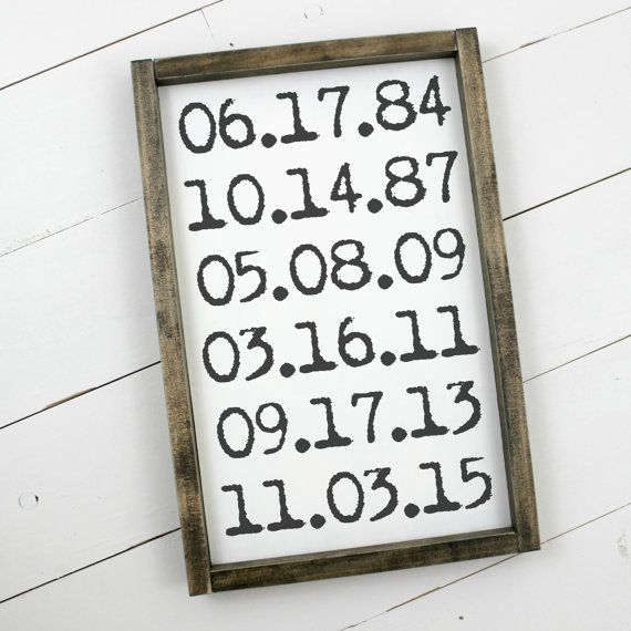 Important Dates Sign Wooden Wood Framed Sign by ThePoshPearShop