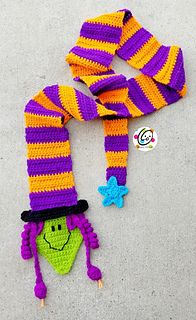 """Brand New Snappy Halloween pattern! """"Witch Upon a Scarf"""" for a quick way to celebrate Halloween. Her long tail hat wraps around and through a keyhole to stay in place."""