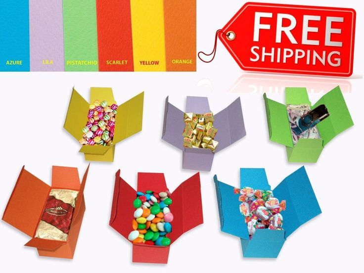 Gift Boxes Party Birthday Keepsake Treat Cake Cookie Candy Color Cardboard Gofre #Prometheus #Events