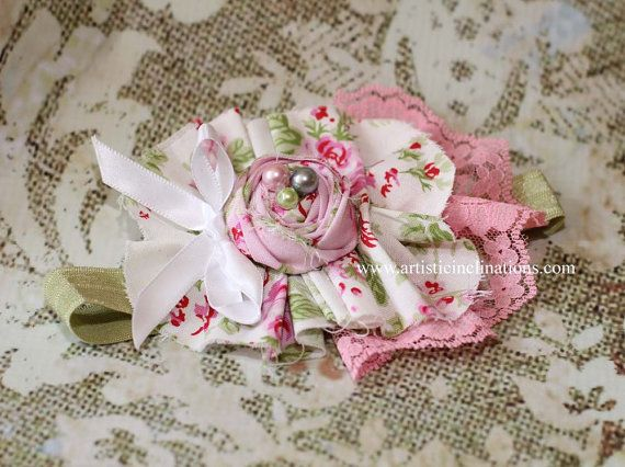 Enchanted Garden - Toddler Headband, Pink and Green Headband, Girls Headband, Pink Lace and Pearls, Handmade