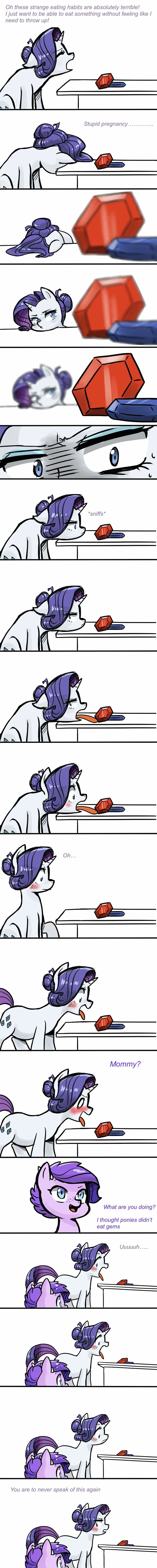 """Rarity saids why the dragons eat this is so stupid ugh  I need to think""""tries to lick the gem then she just blushes a little"""" yummy not that bad at all nom im gonna eat it now her daugher dragon said mom why are u eating that ur not supposed to eat that then Rarity saids ur never able to speak again."""