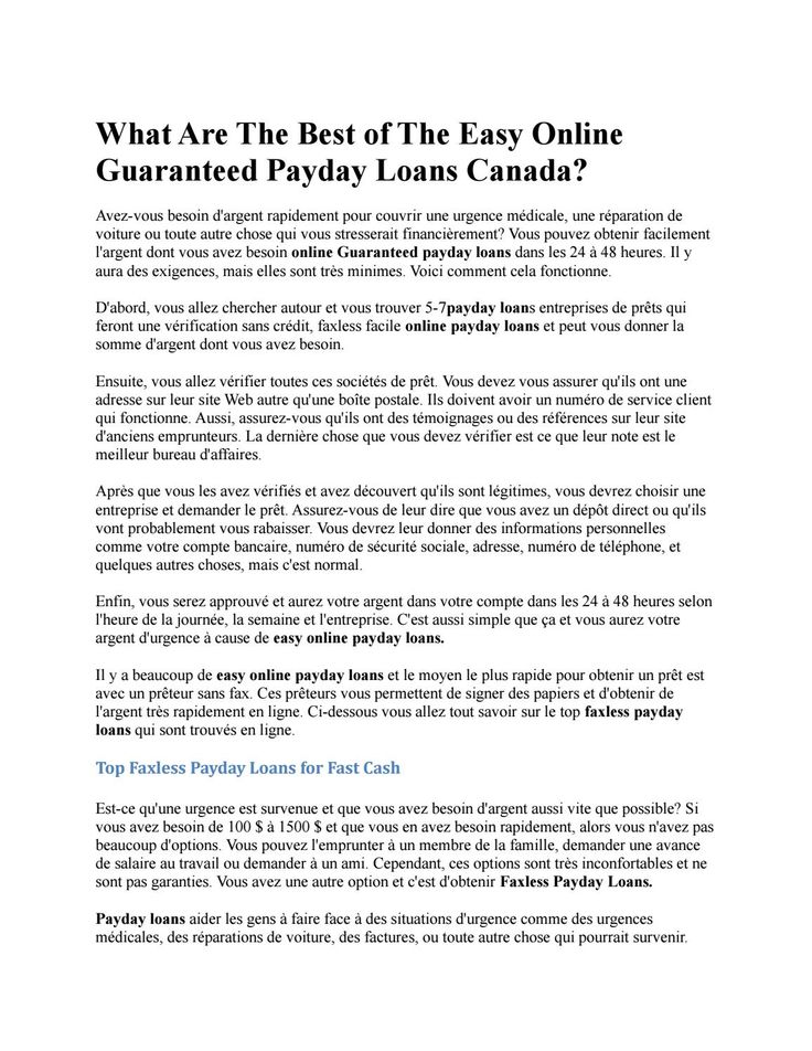 What are the best of the easy online guaranteed payday loans canada