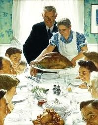 """[4] At the head of the table Father exclaims, as he does every year-- """"Thank the Good Lord. It's the finest bird ever, Mother!""""  #Thanksgiving, #Norman #Rockwell.   http://maryemartintrilogies.com/?p=7297"""