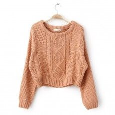 Orange short bat sleeve sweater