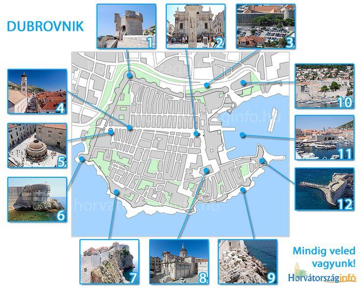 Dubrovnik térképe a fontosabb látnivalókkal. Töltsd le nyomtasd ki, vagy mentsd el a telefonodba és vidd magaddal Dubrovnikba! #dubrovnik #térkép #látnivalók