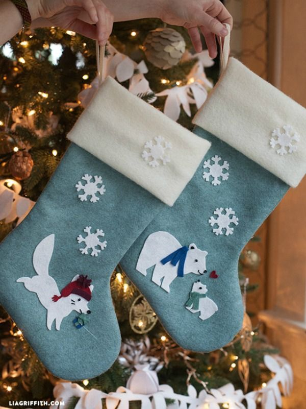 The 25 best diy felt christmas stockings ideas on pinterest diy diy felt christmas stockings holiday inspiration solutioingenieria Images