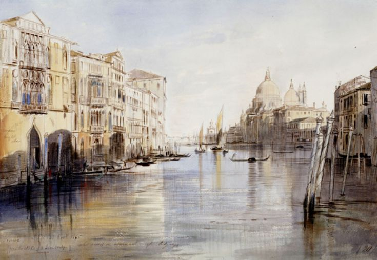 The Grand Canal, With Santa Maria Della Salute, Venice, Italy, 1865  \\  Edward Lear (1812-1888) - English artist and poet