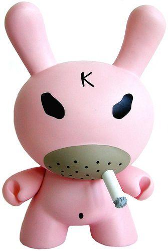 SMORKIN HATE DUNNY - PINK (Frank Kozik) Make your own munny! Customizable kidrobot munny vinyl toy available at www.lazydazeco.com