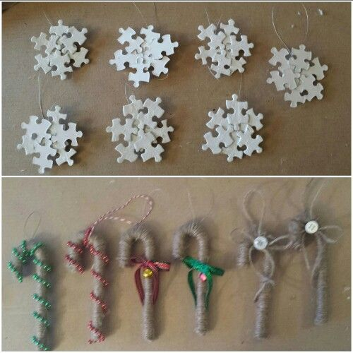 Puzzle snowflakes and wrapped candy canes