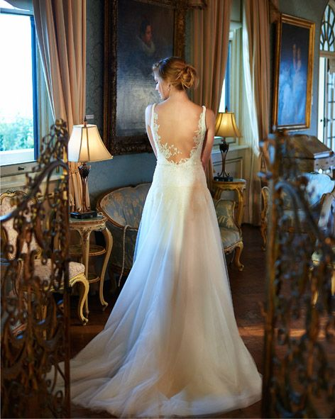 Our Adele gown, using the best Chantilly lace.