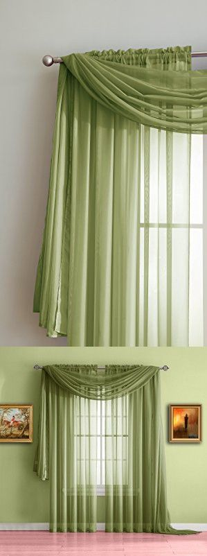 """Warm Home Designs Sage Green Sheer Window Curtains. Each Voile Drape Is 56 X 84 Inches in Size. Great for Kitchen, Living Room, Bedroom, Kids Room or Office. 2 Fabric Panels Included. Color: Sage 84"""""""