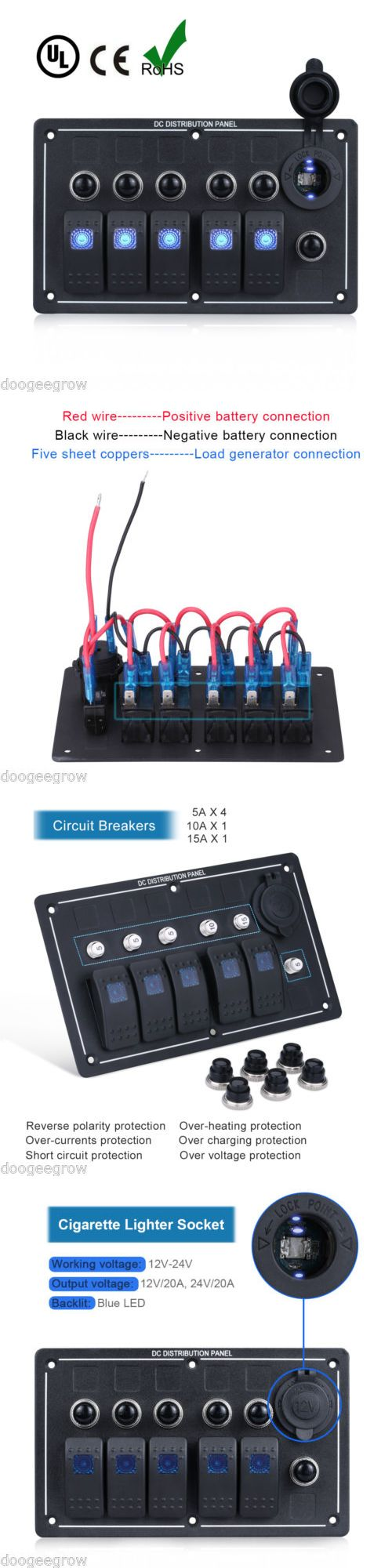 boat parts: New 5 Gang Led Rocker Switch Panel 6 Circuit Breakers Waterproof Marine Car Boat BUY IT NOW ONLY: $41.9