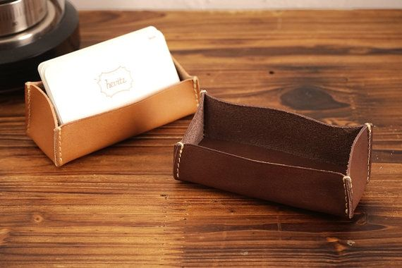 5021 Business Card Stand Vegetable Leather by HEVITZ on Etsy