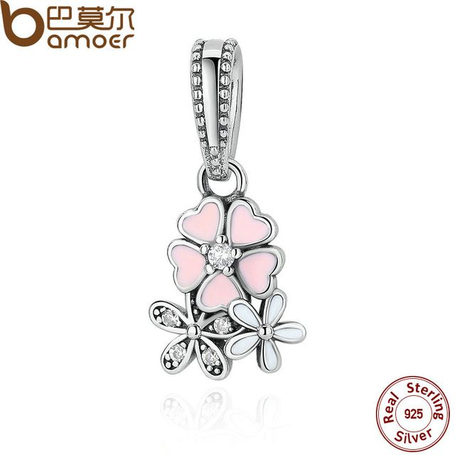Daily Deals $7.61, Buy 925 Sterling Silver Jewelry Poetic Blooms, Mixed Enamels & Clear CZ Charms Fit Bracelet Bangle Fine Jewelry PAS281