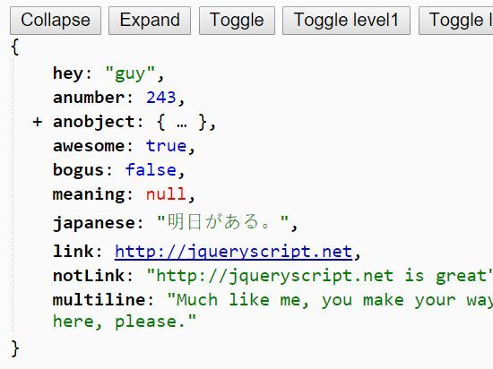 Yet another jQuery based JSON viewer used to pretty-prints JSON data with syntax highlighting support in your webpage.