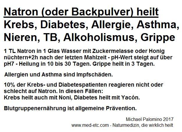 Kurztext: Natron (oder Backpulver)                   heilt Krebs, Diabetes, Allergie, Asthma, Nieren, TB,                   Alkoholismus, Grippe