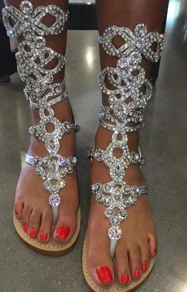 0ae6b1f4683 HOT CLEARANCE SALE !! Silver Crystal Gladiator Sandals