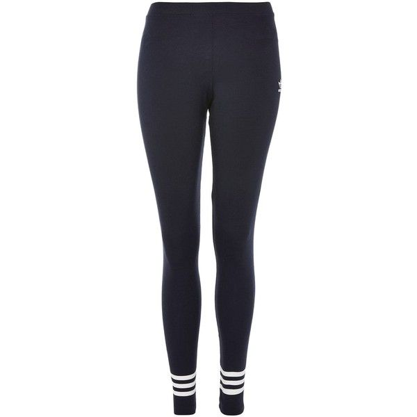3-Stripe Hem Leggings by Adidas Originals (42 CAD) ❤ liked on Polyvore featuring pants, leggings, navy blue, navy pants, stretch waist pants, striped leggings, navy blue pants and stripe pants