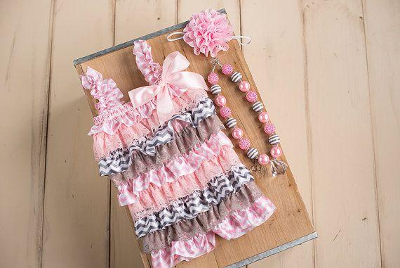 Cake Smash outfit Baby Ruffle Romper Chevron by ScarlettGene