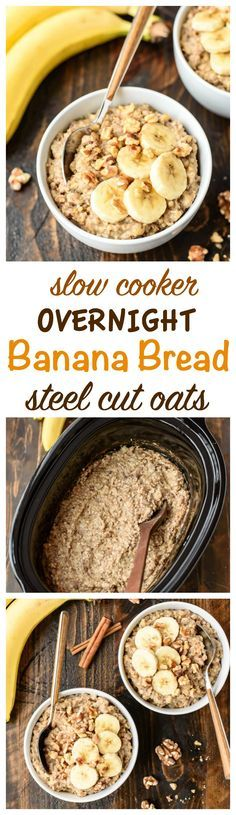Banana Bread Overnight Steel Cut Oats ~ healthy oatmeal made with warm cinnamon, spices, and sweet bananas. Top with nuts, chocolate chips, peanut butter, or anything else you love in banana bread! This recipe is easy to throw in the slow cooker before bed for an effortless breakfast that can last all week. Perfect for using up all those extra ripe bananas too! www.wellplated.com