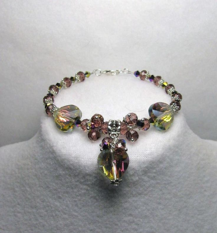 Amethyst Hearts Bracelet - Jewelry creation by Linda Foust