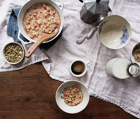 Hot Oat & Quinoa Cereal Recipe at Epicurious.com...been doing this for awhile it is delicious and can easily be made ahead, poured into silicone cupcake pans and frozen. Then just pop out what you want...add milk or yogurt and you havea low-cal heart healthy breakfast