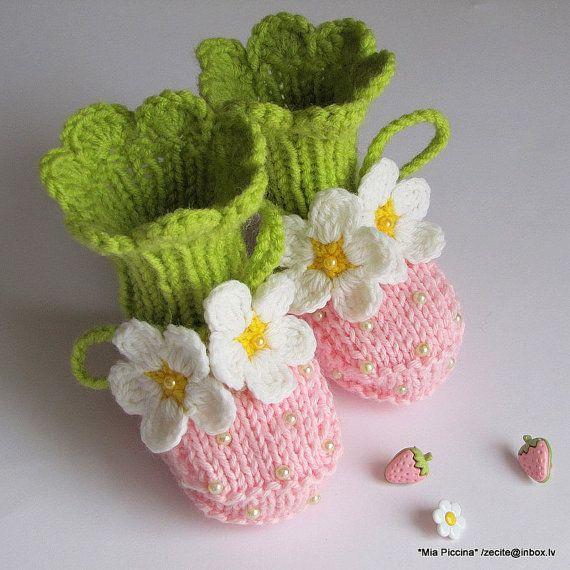 Botines botines fresa rosa mano bebé punto chicas zapatos de