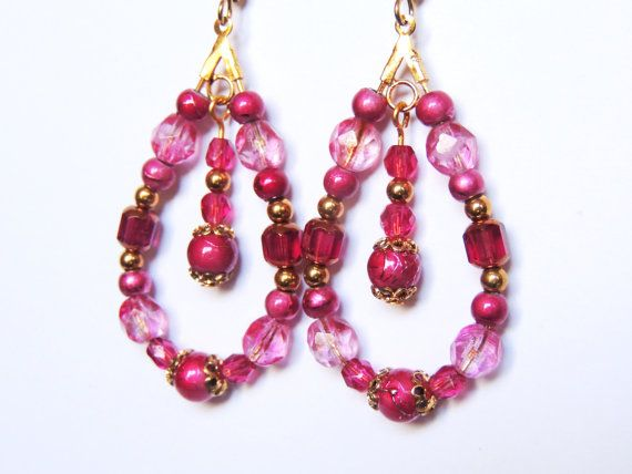 Fuchsia drop earrings by CathsCraftCreations on Etsy, $16.00