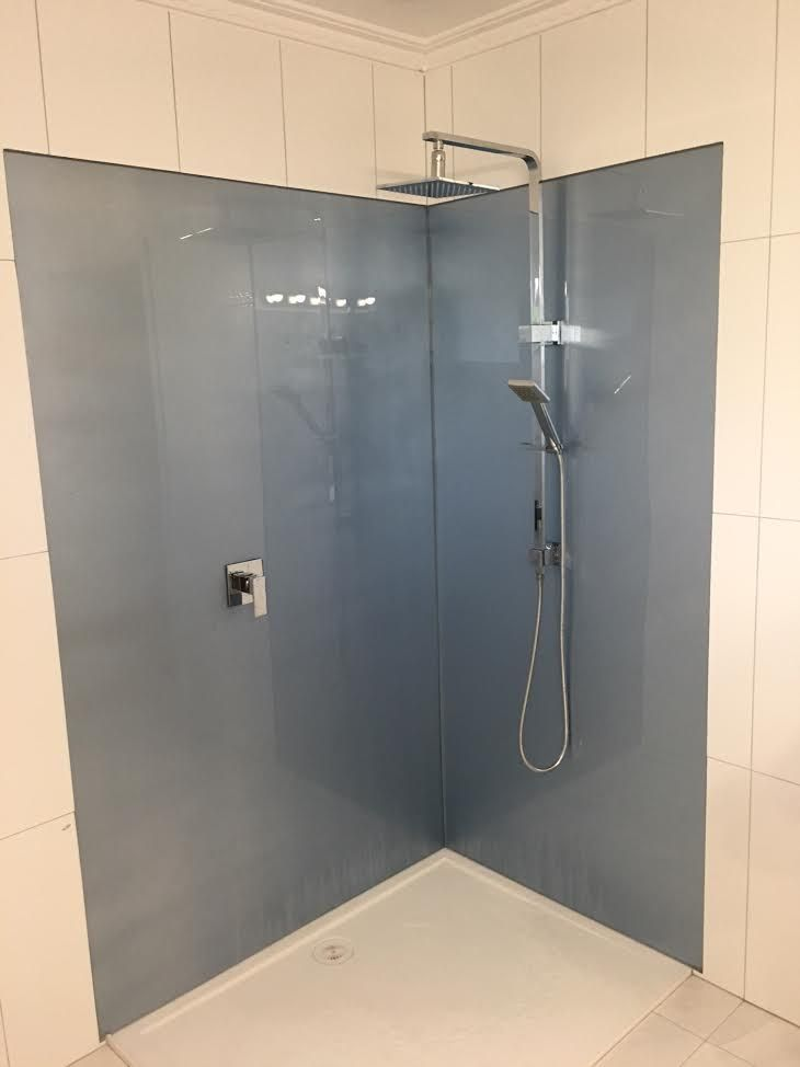Our Signature Metallic Blue Acrylic Splashbacks In Custom Sizes For Our Melbourne Clients Shower Wal Shower Wall Panels Shower Wall Acrylic Shower Walls