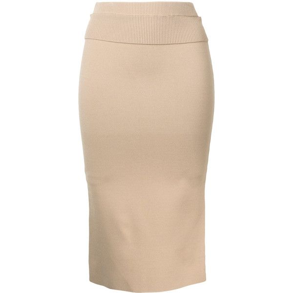 Dion Lee Suspended ribbed pencil skirt ($485) ❤ liked on Polyvore featuring skirts, brown, ribbed skirt, dion lee, beige pencil skirt, knee length pencil skirt and beige skirt