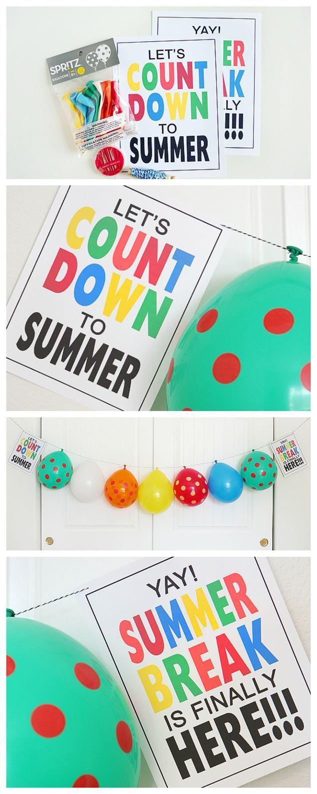 Balloon Countdown bis zur Sommerpause – schnappen Sie sich die kostenlosen Abzüge und schnüren Sie sich einen Ballon …   – Summer Inspiration