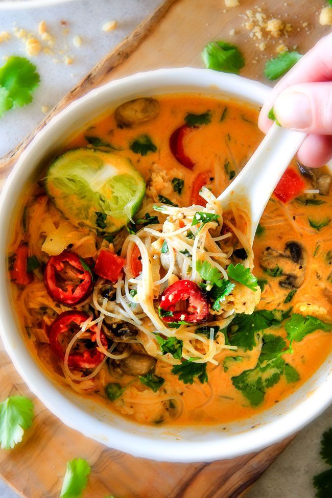 ONE POT Thai Chicken Noodle Soup with Cauliflower, Mushrooms, Carrots
