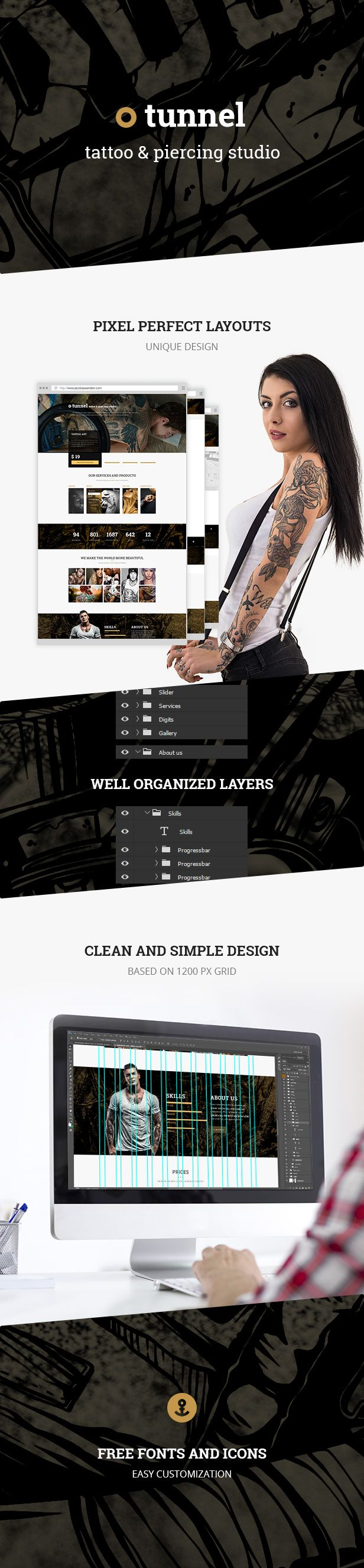 Tunnel  Modern Tattoo and Piercing Studio PSD Template