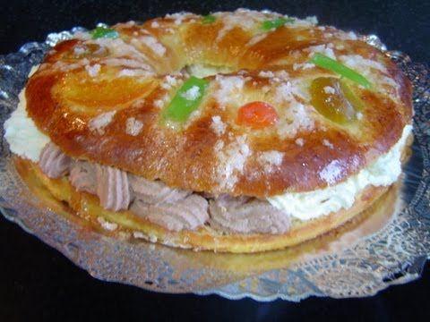 ▶ TORTEL O ROSCÓN DE REYES CASERO RELLENO DE NATA Y TRUFA (receta de panadería) - YouTube