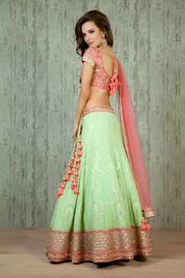 Mehendi Outfits - Peach and Mint Lehenga | WedMeGood Mint Lucknowi Lehenga with Chicken Work and Peach Zardosi Border, Peach and Gold Raw Silk Blouse, Peach Net Dupatta with Sequins and Zardosi work. This Mehendi Outfit has been designed by Benzer Bridal Wear! #wedmegood #lehenga #mehendi #peach #mint #zardosi #sequins #pastel