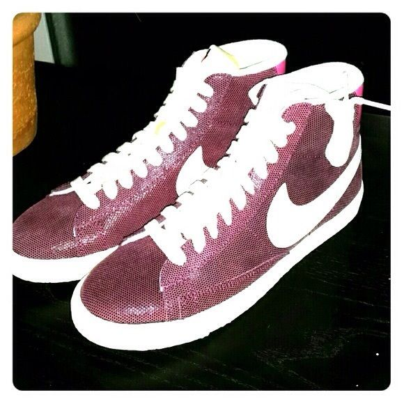 Nike hi tops PINK These are retro hi tops made to look like Nike groundbreaking basketball shoes from the 70s.  Suede outside with vintage looking soles.  Size 10.5 women's Nike Shoes Athletic Shoes