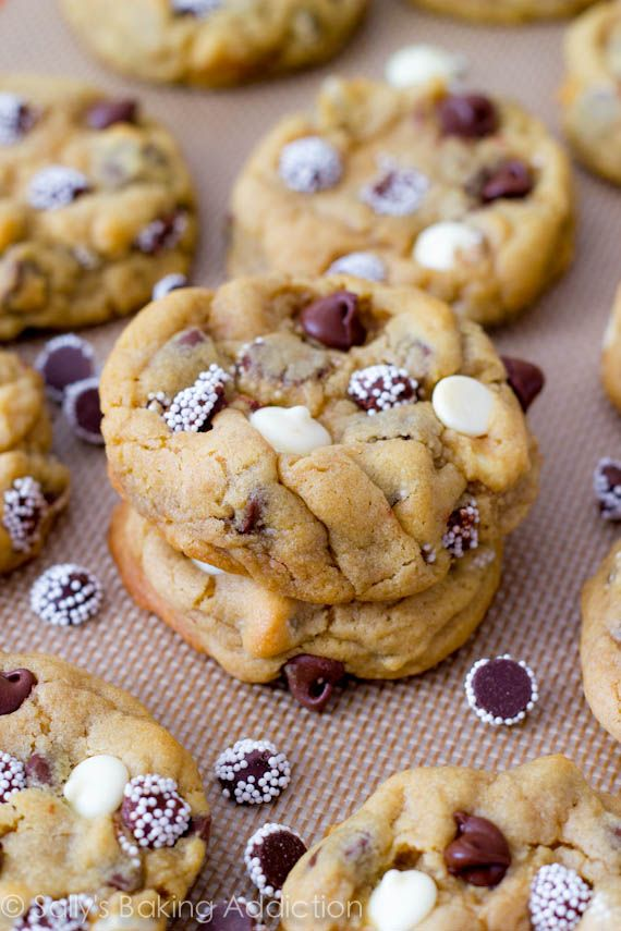 *Triple Chocolate Chip Cookies - Great recipes plus great tips - Like Add Cornstarch -You will be amazed at the result - Cornstarch makes the cookies soft, thick, and puffy. (Check out all of her tips - You'll be glad you did!)