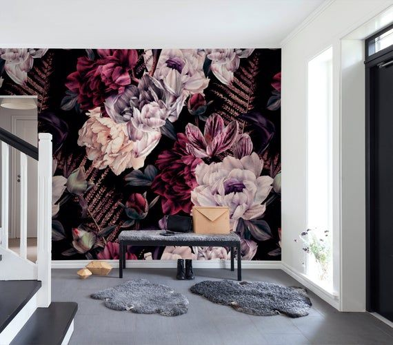 Dark Floral Wallpaper Removable Peel And Stick Self Adhesive Watercolor Large Flowers Wall Mural Decor For Bedroom Living Room Floral Wallpaper Dark Floral Flower Wall