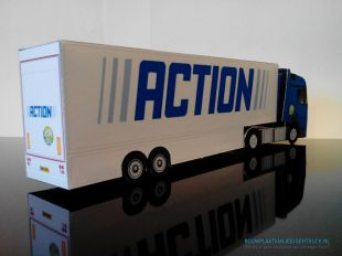 Paper model of a Mercedes Actros SteamSpace and double deck trailer for Action supermarket, found on bouwplaatvanjeeigentruck.nl