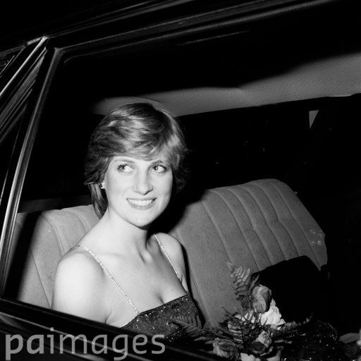 A smiling Lady Diana Spencer at the Royal Academy of Arts, Burlington House, Piccadilly, London, when she and her fiance, the Prince of Wales, attended a soiree.