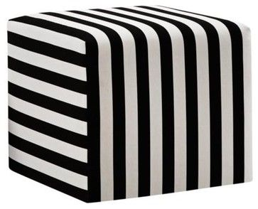 Black and White Canopy Stripe Upholstered Cube Ottoman - modern - ottomans and cubes - Lamps Plus.  $200