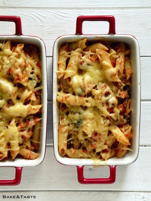 Bake & Taste: Pasta bake with ham and mushrooms