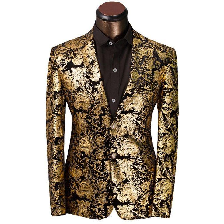 Mens+Gold+and+Black+Awards+Show+Tuxedo+Suit+Jacket+Coat