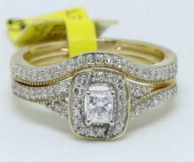 10k Yellow Gold Round Cut Diamonds Halo Set Engagement Bridal Set Wedding Rings..   #14kt #white #gold #halo #vintage #style #diamond #bridal #wedding #engagement #ring #jewelry #diamonds #fashion #online #shopping