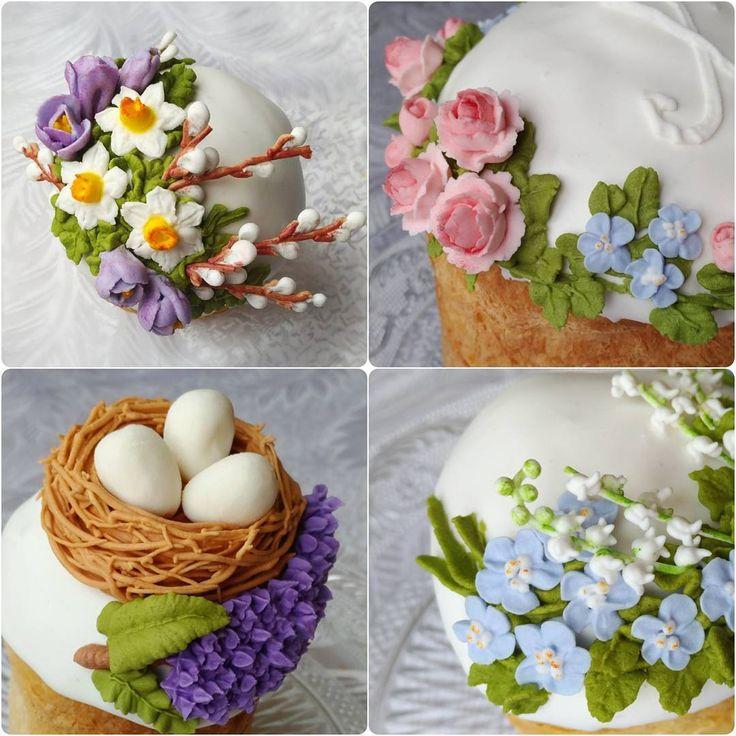 136 отметок «Нравится», 16 комментариев — Svetlana (@krasi_lnikova) в Instagram: «Сахарные цветочки и гнездышко на куличах к весеннему празднику 💒»