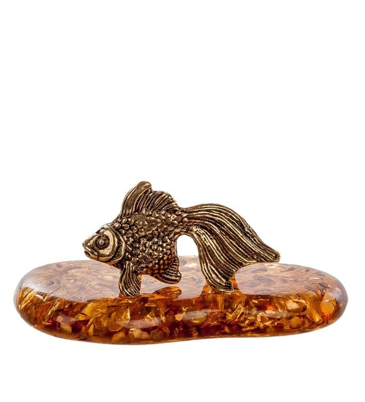 Фигурка «Золотая рыбка» мал. AM-325      Страна производства: Россия;   Материал: латунь/янтарь;   Длина: 4 см;   Ширина: 2,5 см;   Высота: 2,5 см;   Вес: 0,008 кг;          #figures #brass #amber #фигурки #латунь #янтарь