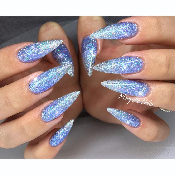 Blue glitter ombré stiletto nails