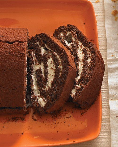 Chocolate Roulade -- Freshly brewed coffee gives this dessert a subtle mocha flavour, but water can be substituted. The cake will crack slightly, but not break, as you roll it.