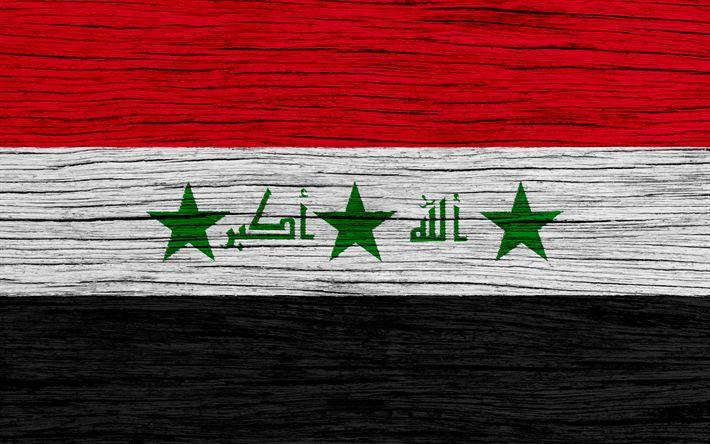 Download wallpapers Flag of Iraq, 4k, Asia, wooden texture, Iraqi flag, national symbols, Iraq flag, art, Iraq